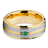 Yellow Gold Tungsten Ring - Emerald Tungsten Ring - Brush - 8mm Ring - Clean Casting Jewelry