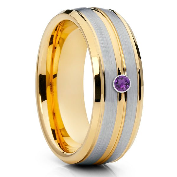 Yellow Gold Tungsten Ring - Amethyst Wedding Ring - Tungsten Carbide - 8mm - Clean Casting Jewelry