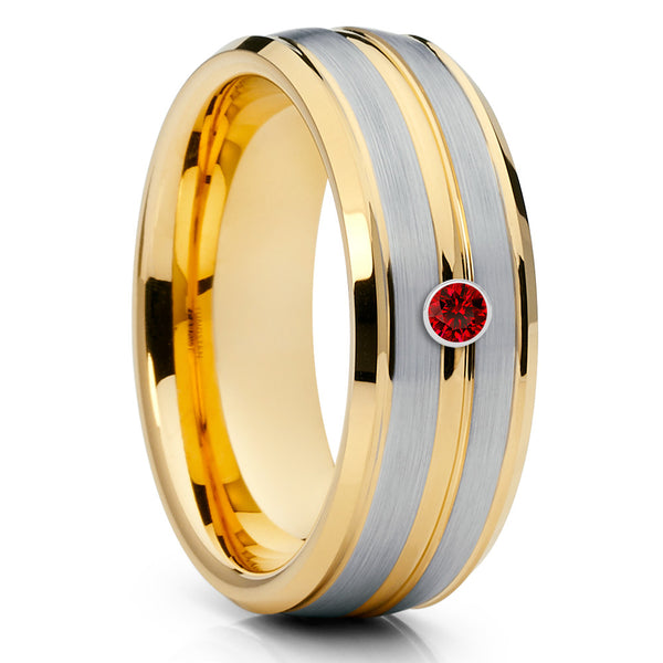 8mm,Ruby Tungsten Ring,Yellow Gold,Tungsten Wedding Band,Handmade,Brushed