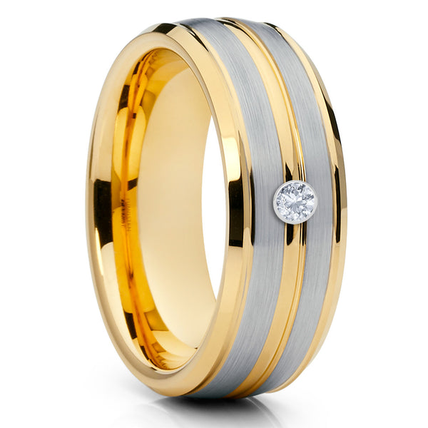 Yellow Gold Tungsten - White Diamond Ring - Men's Wedding Ring - Tungsten - Clean Casting Jewelry