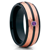 Black Tungsten Ring - Amethyst Wedding Band - Rose Gold Tungsten - 8mm - Clean Casting Jewelry