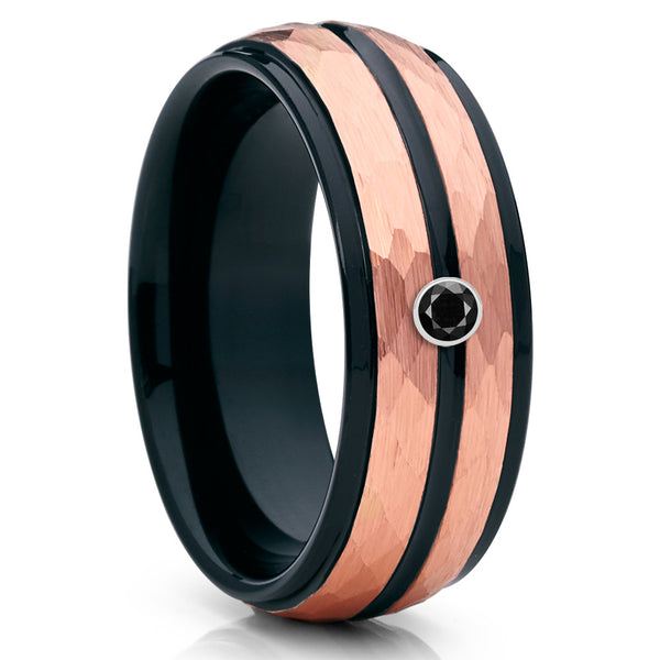 8mm - Rose Gold Tungsten - Black Diamond Band - Tungsten Wedding Band - Clean Casting Jewelry