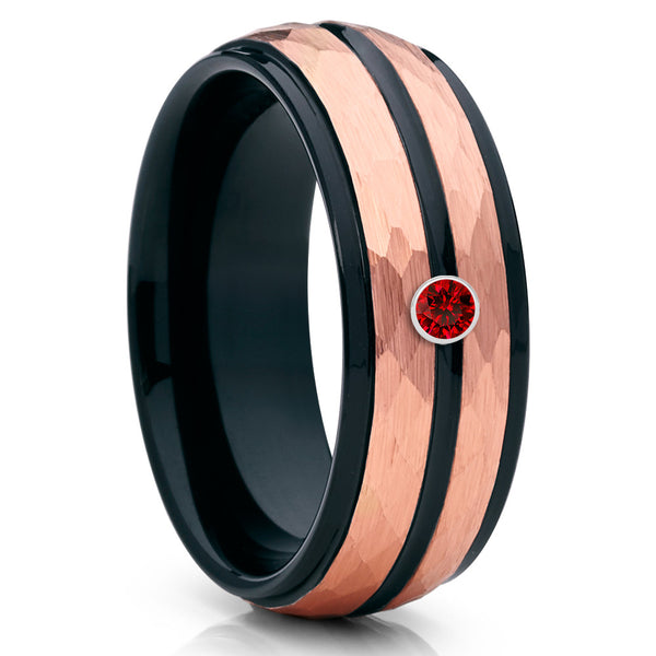 Rose Gold Tungsten Band - Ruby Ring - Black Tungsten Ring - 8mm - Clean Casting Jewelry