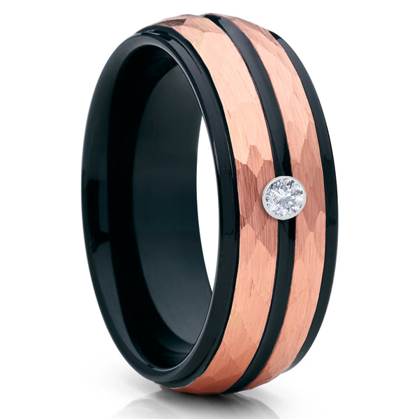 White Diamond Tungsten Ring - Rose Gold Tungsten - Hammered - Handmade - Clean Casting Jewelry