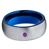 Amethyst Tungsten Ring - Gray Tungsten Wedding Ring - Blue Tungsten Band - Clean Casting Jewelry