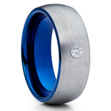 Blue Tungsten Band - White Diamond Ring - Gray Tungsten Ring - Brush