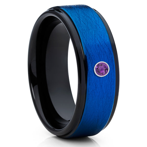 Brushed,Blue Tungsten Ring,Amethyst Tungsten Band,Olivit Brushed Ring,8mm Band