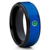Emerald Tungsten Ring - Blue Tungsten Band - Emerald Tungsten Band - 8mm - Clean Casting Jewelry