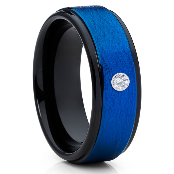 Diamond Tungsten Ring,Blue Tungsten Ring,Tungsten Wedding Band,Black,8mm
