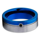 8mm - Blue Tungsten Band - Black Diamond - Blue Tungsten Ring - Gray - Clean Casting Jewelry
