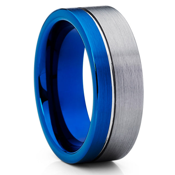 Men's Blue Tungsten Ring,8mm Tungsten Band,Brushed Blue Tungsten Ring,Gray
