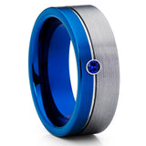 Blue Tungsten Wedding Band - Gray Tungsten Ring - Blue Sapphire Ring - 8mm - Clean Casting Jewelry