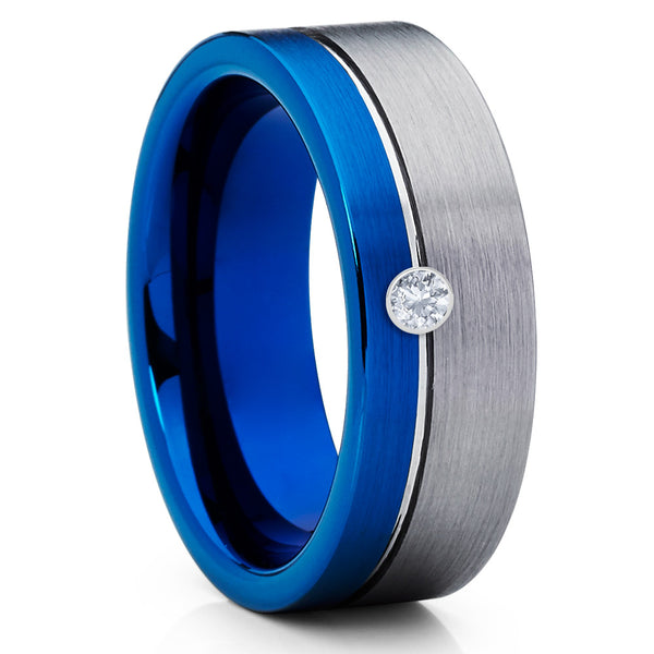 Blue Tungsten Ring - White Diamond Tungsten - Gray Wedding Band - 8mm - Clean Casting Jewelry
