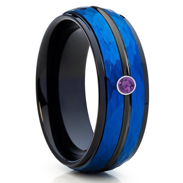 Blue Tungsten Band - Amethyst Wedding Band - Blue Tungsten Ring - 8mm - Clean Casting Jewelry