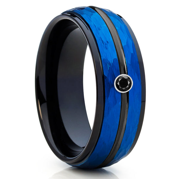 8mm,Blue Tungsten Wedding Band,Black Diamond Tungsten Ring,Black Diamond,Brush