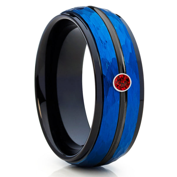 Blue Tungsten - Ruby Tungsten Band - Blue Wedding Band - Men's Tungsten