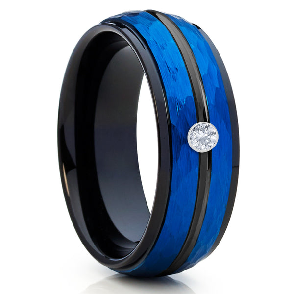 8mm,Blue Tungsten Band,White Diamond Ring,Tungsten Wedding Band,Hammered
