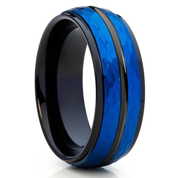 Men's Blue Tungsten Ring,Tungsten Wedding Band,Brushed,Hammered Style,Blue