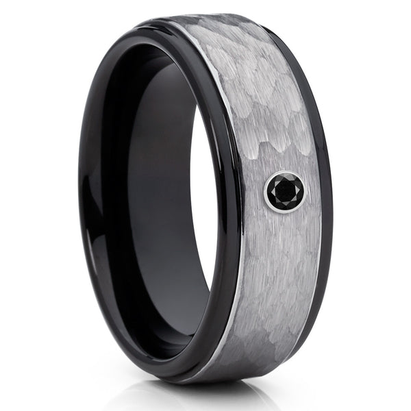 Black Tungsten Band - Hammered Ring - Black Diamond Tungsten Ring - 8mm - Clean Casting Jewelry