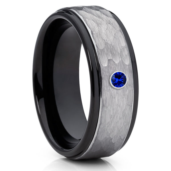 8mm,Tungsten Wedding Band,Blue Sapphire Ring,Tungsten Carbide Ring,Black,Hammered