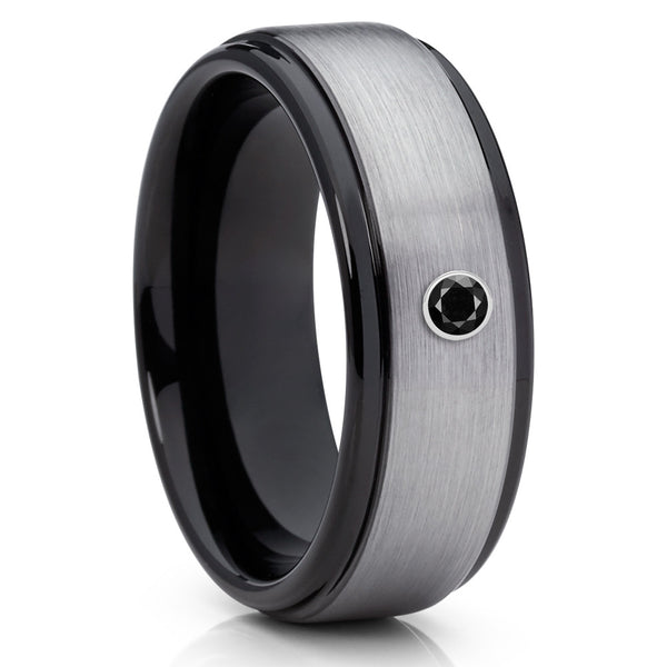 8mm,Brushed Black Tungsten Ring,Black Diamond Tungsten Ring,Black Diamond,Unique