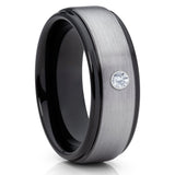 White Diamond Tungsten,Men's Wedding Band,Tungsten Carbide Ring,Unique Tungsten