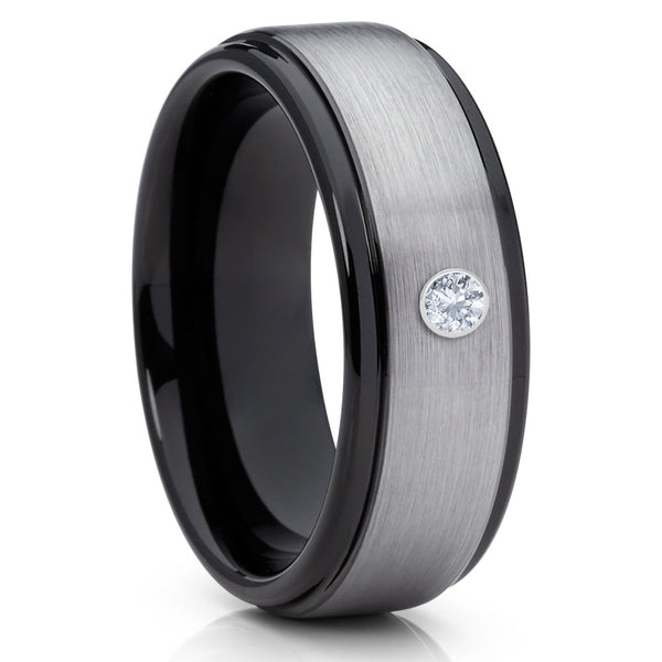Black Tungsten Ring - White Diamond Tungsten Ring - Gray Wedding Band - Clean Casting Jewelry