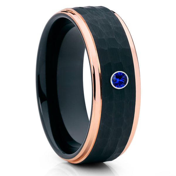 Rose Gold Tungsten Ring - Black Tungsten - Blue Sapphire Ring - 8mm - Clean Casting Jewelry