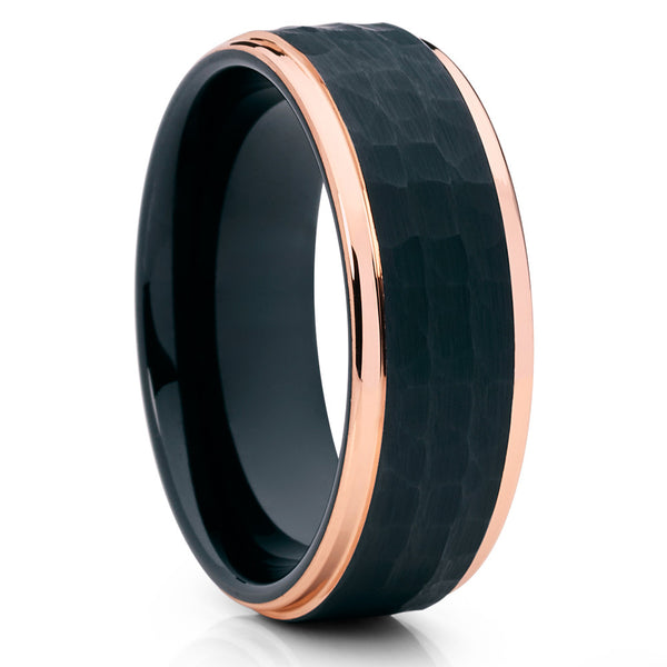 Rose Gold Tungsten Ring - Hammered Ring - Black Tungsten Ring - Brush - Clean Casting Jewelry