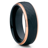 Men's Rose Gold Tungsten Ring,Hammered Tungsten Ring,Hammered Ring