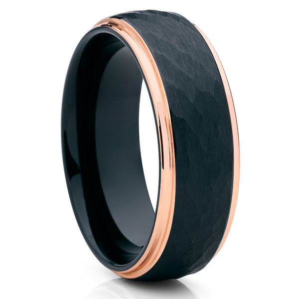 Black Tungsten Wedding Band - Rose Gold Tungsten Ring - Black Hammered - Clean Casting Jewelry
