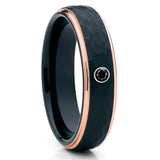 6mm - Rose Gold Tungsten Ring - Handmade - Black Diamond Ring - Hammered - Clean Casting Jewelry