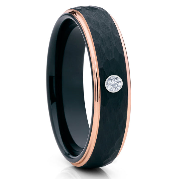 6mm - White Diamond Tungsten Ring - Rose Gold - Black Tungsten Ring - Clean Casting Jewelry