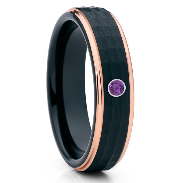 6mm Black Tungsten Ring - Amethyst Wedding Band - Rose Gold Tungsten - Clean Casting Jewelry