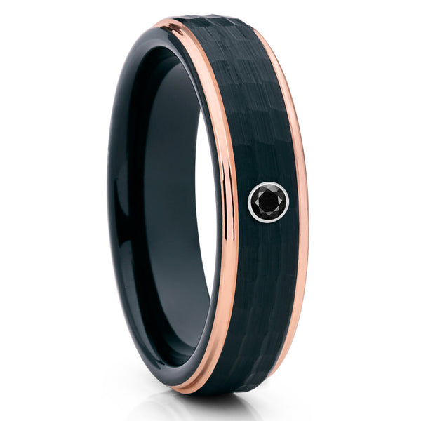 6mm - Black Diamond Ring - Rose Gold Tungsten - Hammered - Handmade