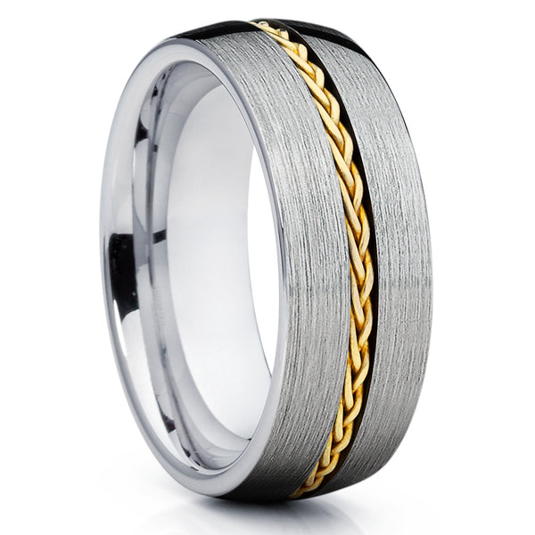 2ee4f11c2 Men's Wedding Band- 14k Yellow Gold - Braid Ring - Tungsten Wedding Band -  Clean
