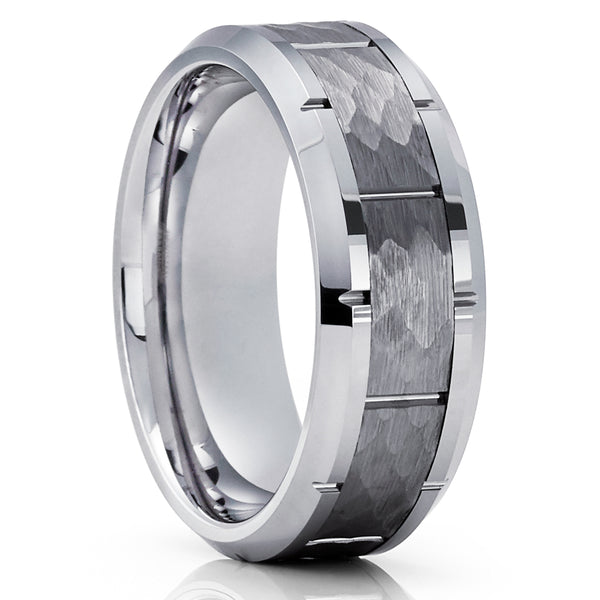 Silver Tungsten Ring - Hammered Ring - Gray Tungsten Band - Brush Ring - 8mm - Clean Casting Jewelry