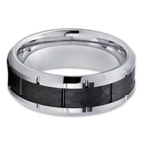 Black Tungsten Wedding Band - Tungsten Carbide Ring - Men's Tungsten Ring - 8mm - Clean Casting Jewelry