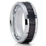 Black Tungsten Wedding Band - Tungsten Carbide Ring - Men's Tungsten Ring - 8mm