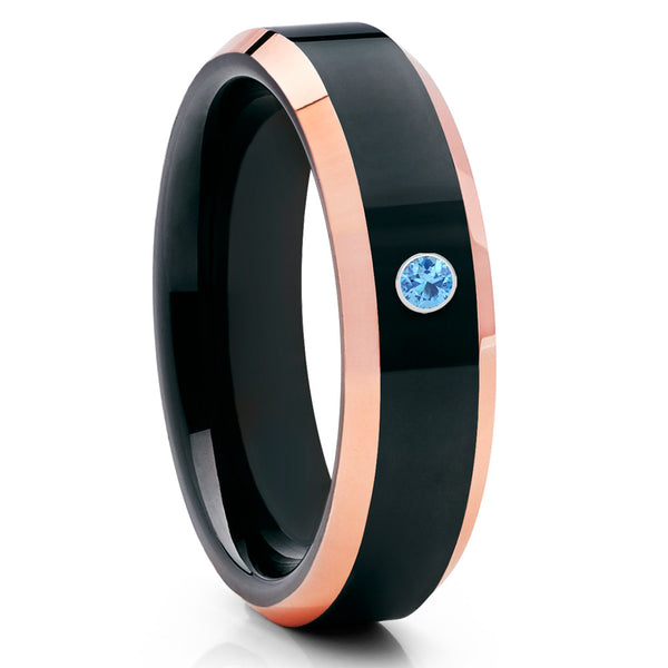 Shiny Polish Tungsten Ring - Black Tungsten Ring - Rose Gold Tungsten - Aquamarine - Clean Casting Jewelry