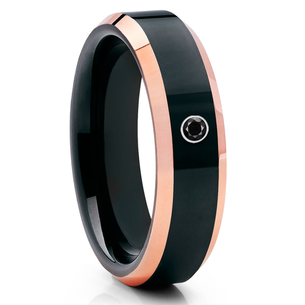 6mm,Black Diamond Ring,Tungsten Wedding Band,Unisex Tungsten,Rose Gold Band