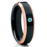 Blue Diamond Wedding Band - Black Tungsten Ring - Tungsten Carbide Ring - Clean Casting Jewelry