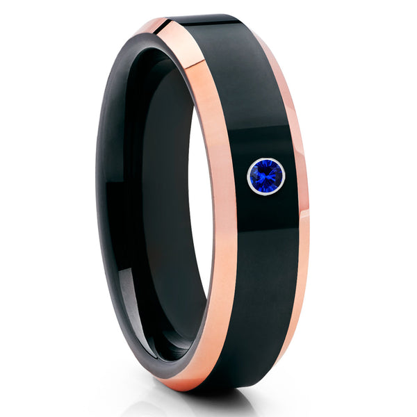 6mm - Black Tungsten Ring - Rose Gold Tungsten - Blue Sapphire Ring - Clean Casting Jewelry