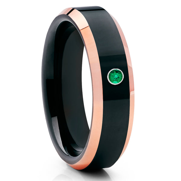 Black Tungsten Wedding Band - Shiny - Emerald Tungsten Ring - Rose Gold - Clean Casting Jewelry