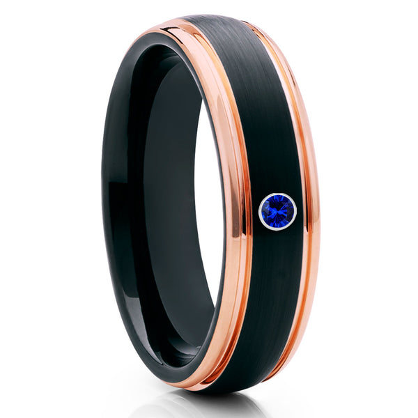 Blue Sapphire Wedding Band - Rose Gold Tungsten - Black Tungsten Ring - 6mm - Clean Casting Jewelry