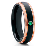 Rose Gold Tungsten - Emerald Tungsten Ring - Black Tungsten - Brush - Clean Casting Jewelry