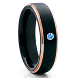 Men's Wedding Band - Black Tungsten Ring - Aquamarine Tungsten Ring - Rose Gold - Clean Casting Jewelry