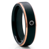 Black Tungsten Wedding Band - Black Ring - Black Diamond Ring - Rose Gold - Clean Casting Jewelry