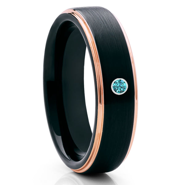Rose Gold Tungsten Wedding Band - Blue Diamond Ring - Black Brush Ring - Clean Casting Jewelry