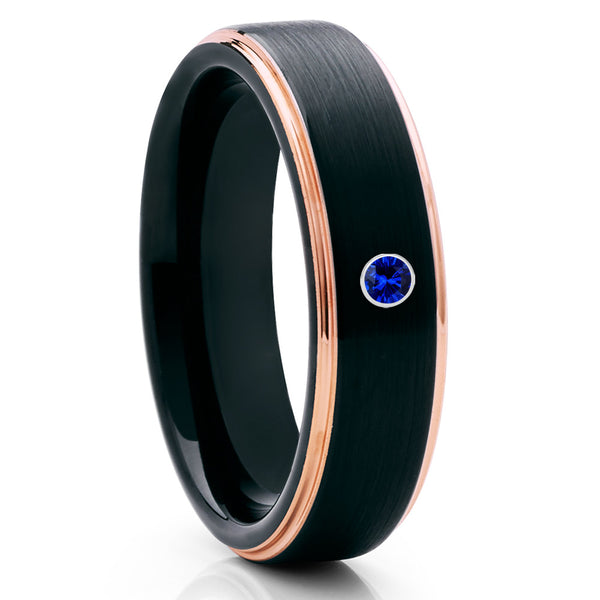 Black Tungsten Ring - Blue Sapphire - Rose Gold Tungsten - Wedding Band - Clean Casting Jewelry